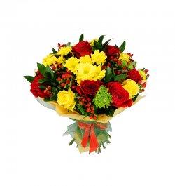 זר פרים - אדום צהוב