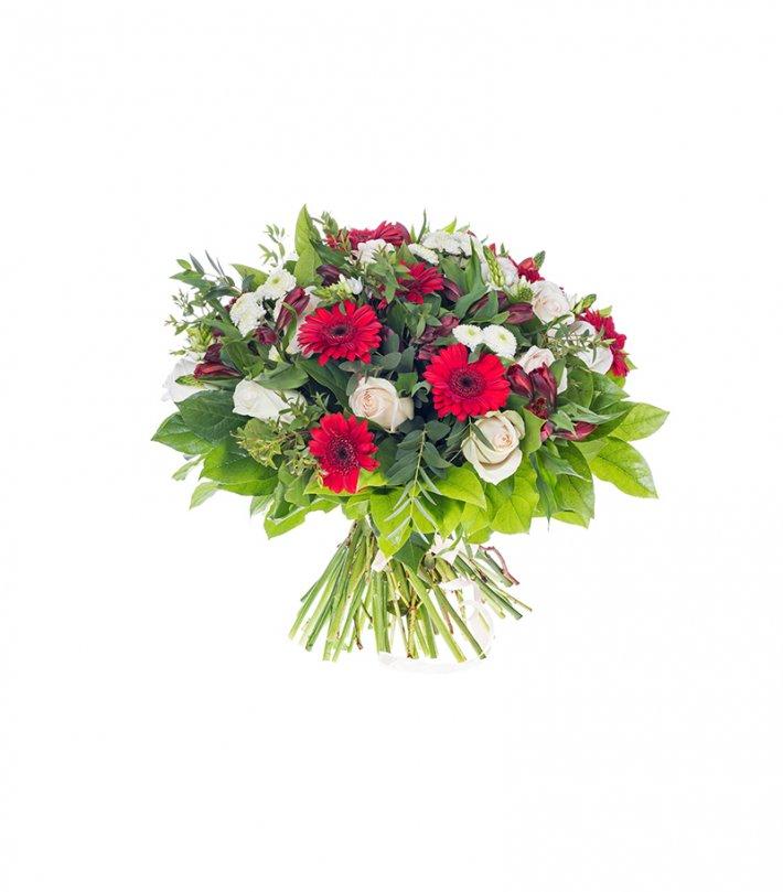 זר פרחים אדום לבן