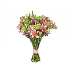 זר פרחים אביבי ורוד