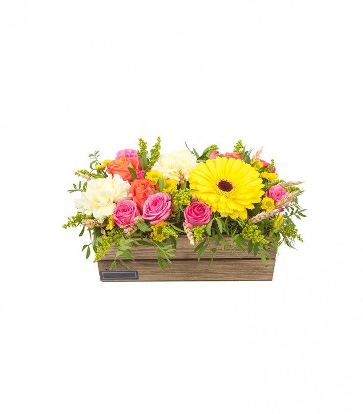 סידור פרחים בארגז