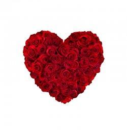 סידור ורדים בצורת לב